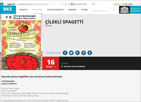 Tiyatro - 16 Ocak 2016 - Çilekli Spagetti - Ortaköy Kültür Merkezi